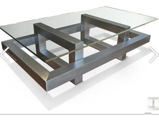 Mesa De Centro De Lujo Cristal Templado + Base Acero