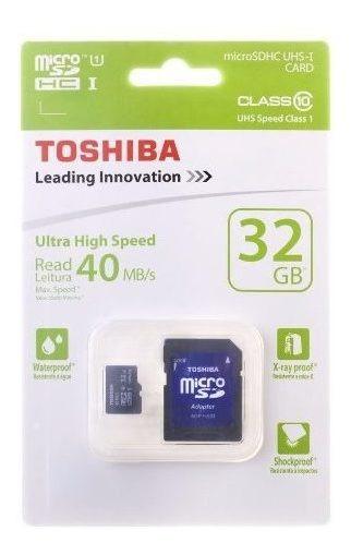 Cartão De Memória 32gb Micr Sdhc Classe 10 Adaptador Toshi
