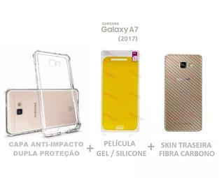 Capa Anti Impct + Película Gel + Skin Carbono Galaxy A7 2017