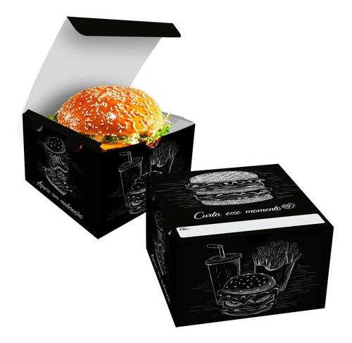 Imagem 1 de 4 de Caixa Box Embalagem Para Hambúrguer Artesanal Preto 300un
