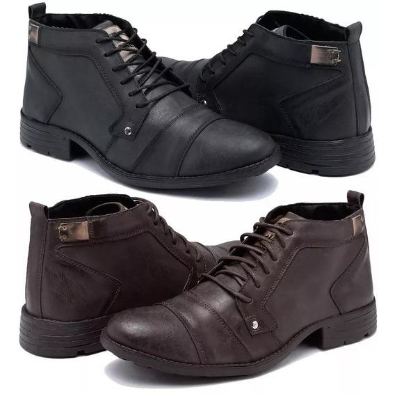 Kit 2 Pares Bota Casual Sapato Social Cano Baixo Extra Leve
