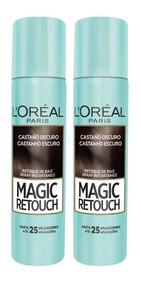 Kit 2 Retoque De Raiz Spray Magic Retouch Castanho Escuro