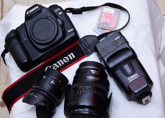 Canon 5d Mk I I + Lentes E Flash + Brinde ( 2 Cf)