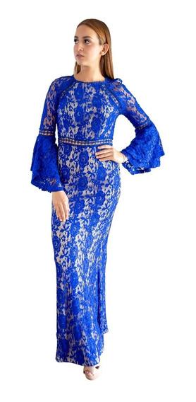 Vázquez Lara Vestido Largo Azul, Encaje Corte Sirena