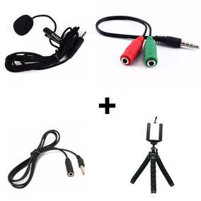 Microfone Lapela Dagge + Adaptado + Cabo Extensao Mini Tripe