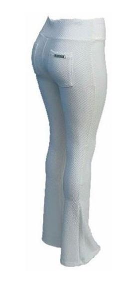 Calça Flare Cós Alto Texturizada Promoção Tecido Grosso