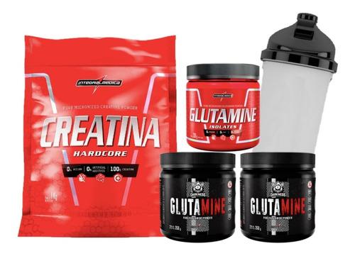 Creatina 1kg + Glutamina 1kg Integral Médica + Coqueteleira