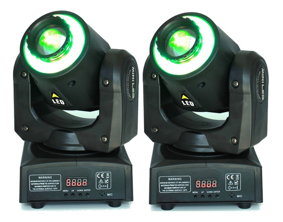 Kit 2 Mini Beam Moving Head Led 30w Cree Rgbw Dmx Strobo Pro