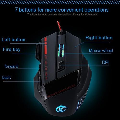 Imagen 1 de 10 de Mouse Gamer Gaming 3200dpi  Rgb 7 Botone Óptico Usb Ergonómi