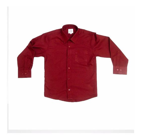 Camisa Lisa Manga Larga Oscar Tinto 1 2 3 Y 3x Incluye Moño