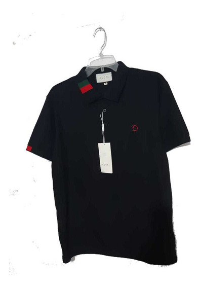 Playera Polo Gucci Negro Tricolor En El Cuello