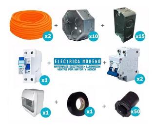 Tablero Completo Termica Diyuntor Conector Cinta Caja Corrugado Kit Combo Instalacion