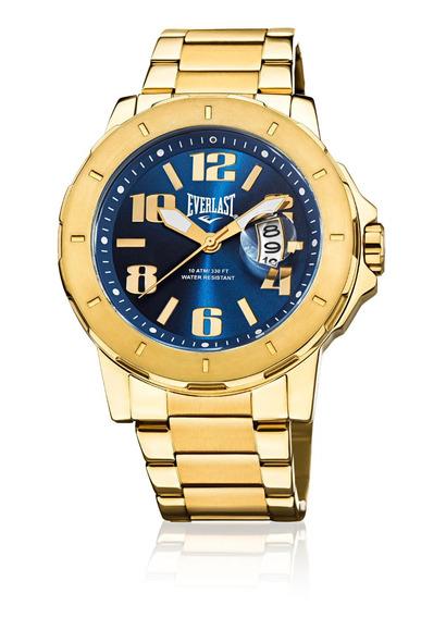 Relógio Pulso Everlast Masculino Calendário Aço Dourado E645