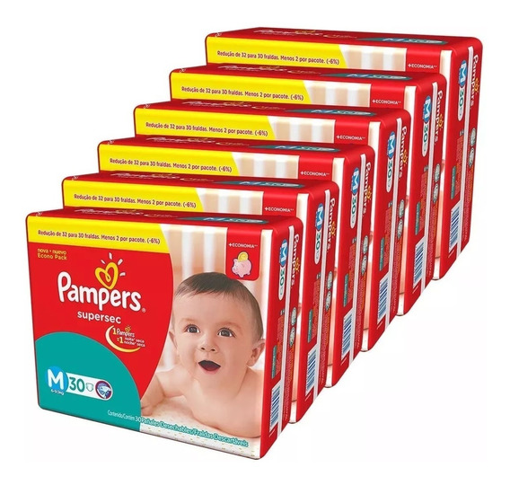 Kit Com 5 Fraldas Pampers Supersec M Atacado 150 Unidades