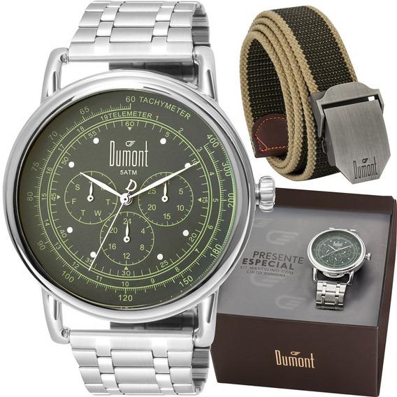 Kit Relógio Dumont Masculino Com Cinto Du6p29aca/k3k