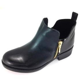 Botínes Para Mujer Con Zipper Negro