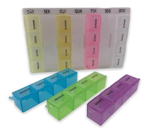 Imagem 1 de 10 de Caixa Porta Comprimidos Medicamento Dia Semanal 28 Compartim
