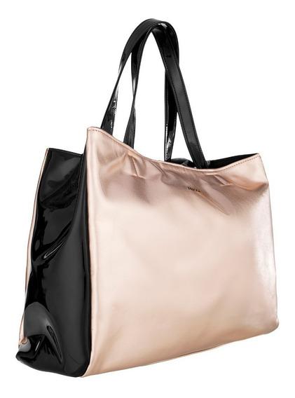 Cartera Bolso Mujer Tote Bag Metalizado Charol Eco Cuero