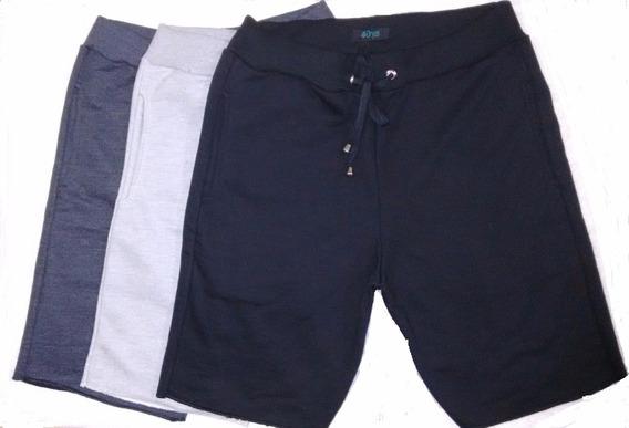 Bermuda Shorts Moleton Moletom Masculina - Kit Com 3 Peças