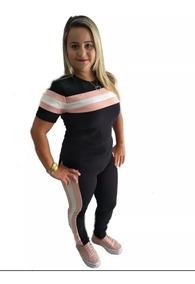 Conjunto Malha Crepe Calça E Blusa Variado Moda Promoção