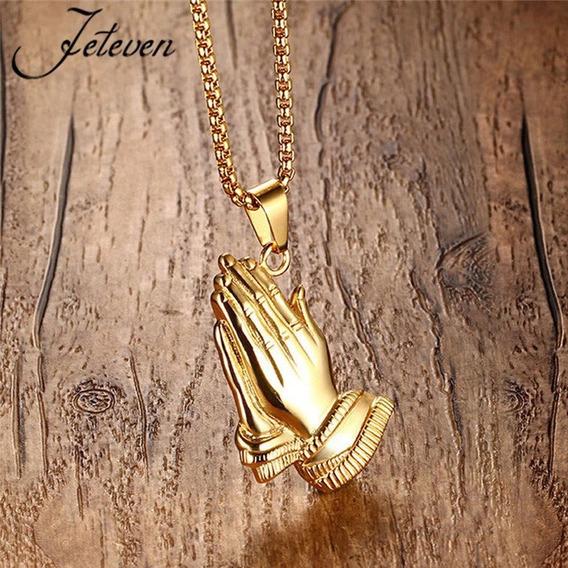 Colar Pingente Mão Oração Ouro Sorte Cordão