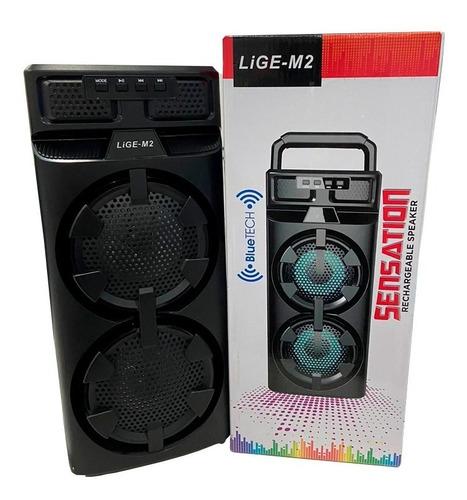Caixa De Som Portátil Com Bluetooth  Potente Preta 39,5cm