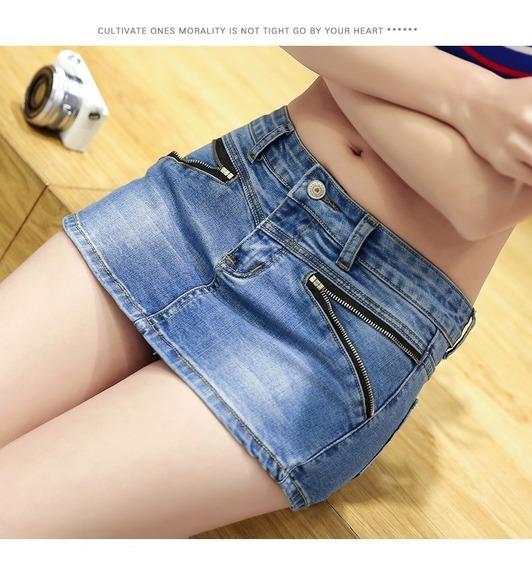 Short Saia Jeans Denim Duplo Zipper