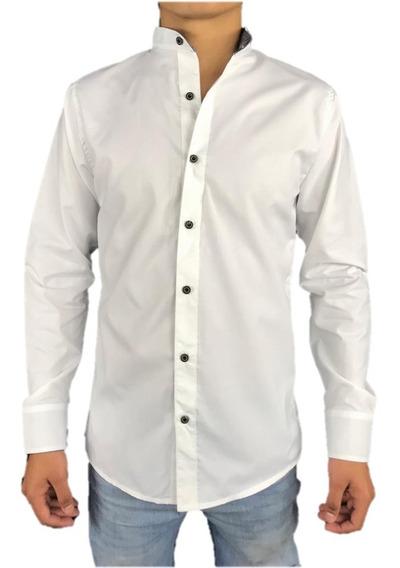 Camisa Para Hombre Slim Fit Cuello Mao