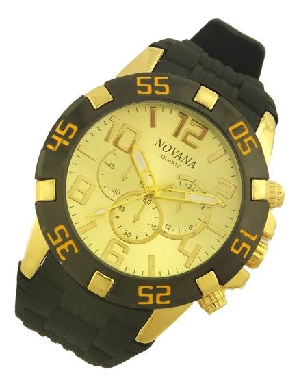 Relógio De Pulso Masculino Novana Pulseira Em Borracha B5717