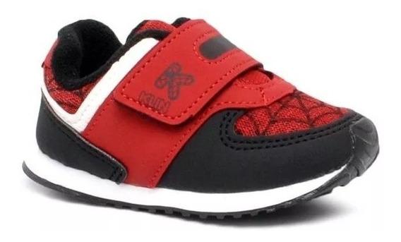 Tênis Homem Aranha Infantil Klin Mini Walk 453.053 Preto/vermelho 10729