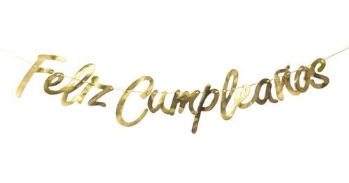 Letrero Feliz Cumpleaños Dorado