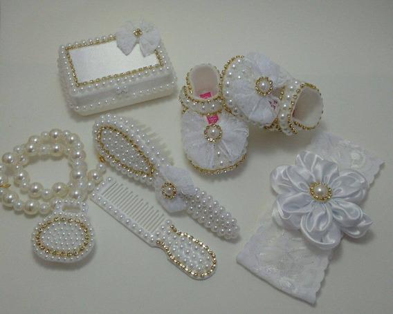 Kit Customizado De Perola Branco E Faixa Saida Maternidade