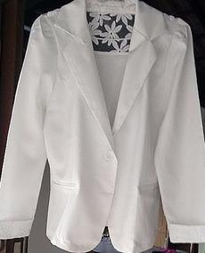 Blazer Plus Size Branco Gabardina Pronta Entrega