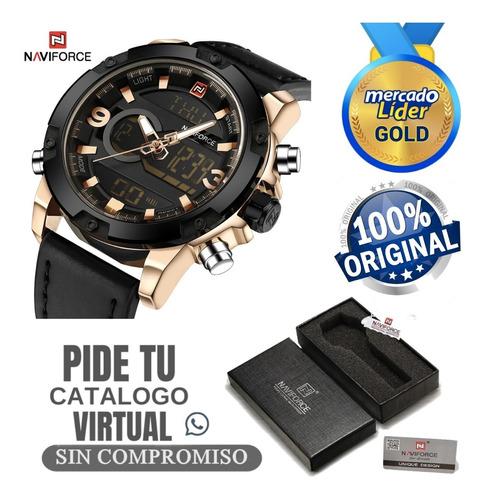 Relojes Hombre Naviforce Originales Correa De Cuero + Caja
