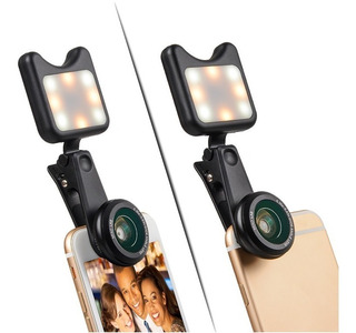 Lente Gran Angular + Macro + Luz Led Para Iluminar Y Selfies