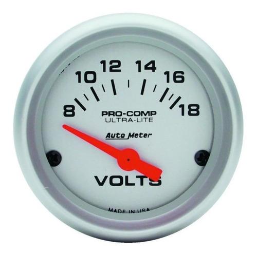 Auto Meter 4391 Voltimetro 2-1 / 16 , 8-18 V, Air-core, Ult