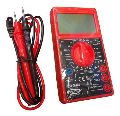 Imagen 1 de 8 de Multímetro Tester Digital Zr161 Buzzer Display Grande Zurich