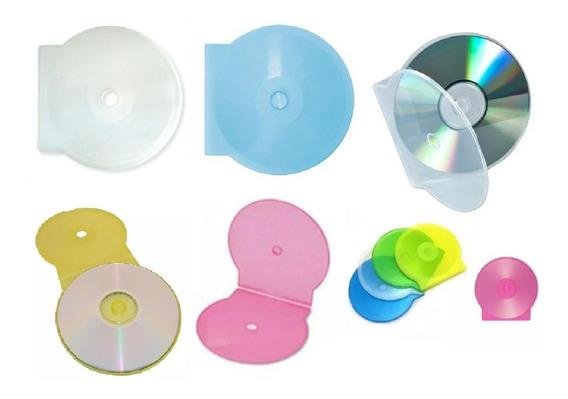 50 Capa Case Plastico Redonda Bolacha Para Cd Dvd