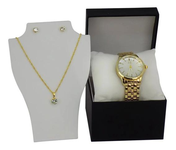 Relógio Feminino 100% Original Dourado + Colar E Brinco
