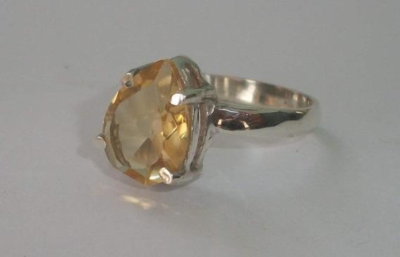 Lindo Anel Em Prata 950 Com Pedra Citrino Natural.