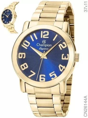 Relógio Feminino Dourado Fundo Azul Champion A Prova D