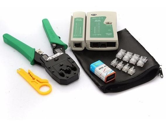 Kit Alicate Crimpar Rj45 + Testador C Bateria + 20 Rj45 Capa