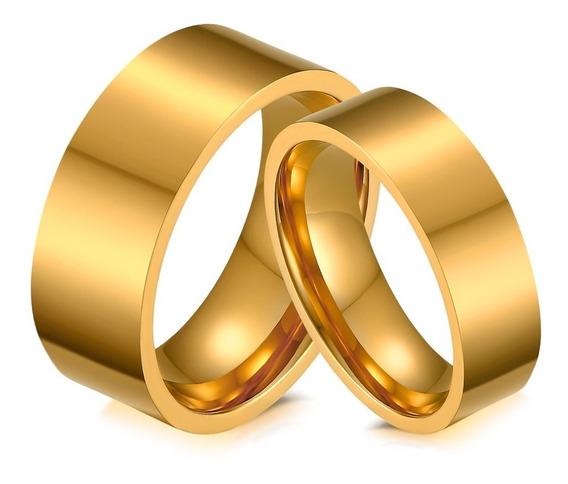 Alianças Casamento Noivado 8mm Ou 6mm Banhado Ouro 18k Par