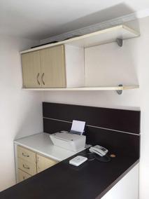 Mesa Escritório Planejado Home Office Marrom Escuro E Branco