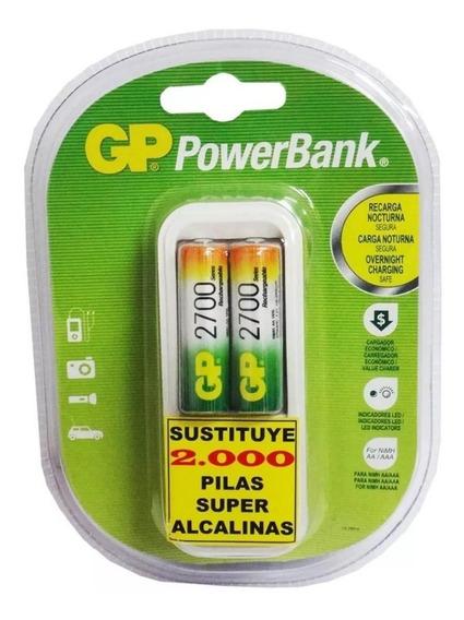 Cargador Bateria Gp +2 Pilas Aa 2700mah Marca Gp Recargables