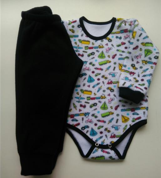 Conjunto Body E Calça Menino Soft Pijama Roupa Bebe Menino