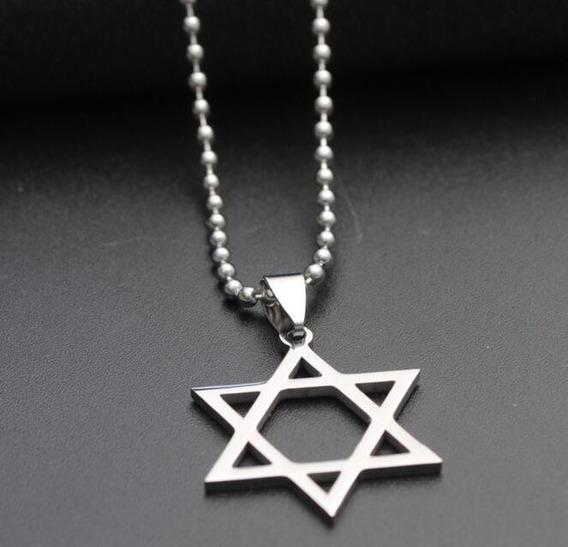 Colar Estrela De Davi Judaica Hexagrama Cordão Frete Grátis