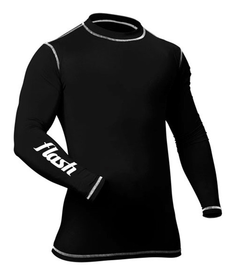 Remera Termica Ad Ml Negro Flash Hombre
