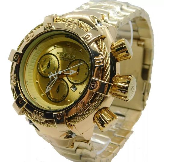 Relógio Masculino Dourado Pesado Importado Luxo Frete Grátis