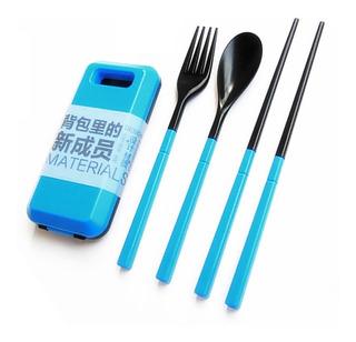 Set Palillos Cuchara Tenedor En Estuche Portatil Bento Kit